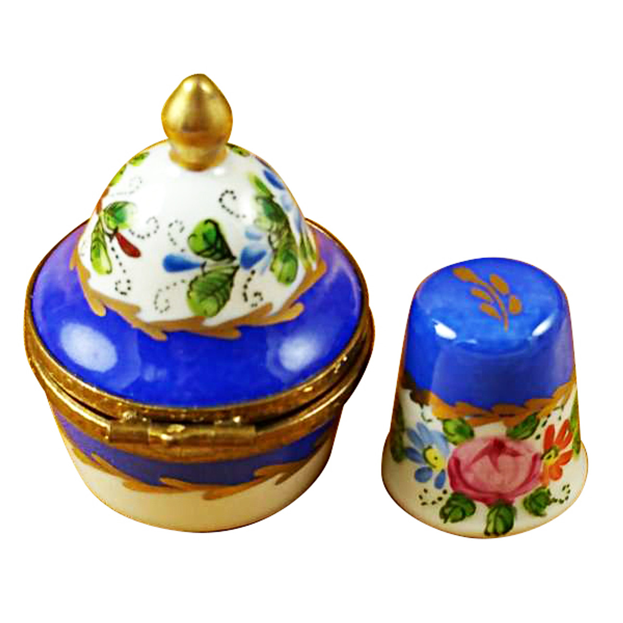 Blue Box with Thimble Limoges Box RI001