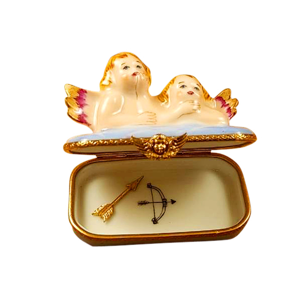 Two Angels on Blue Base with Arrow Limoges Box RR224
