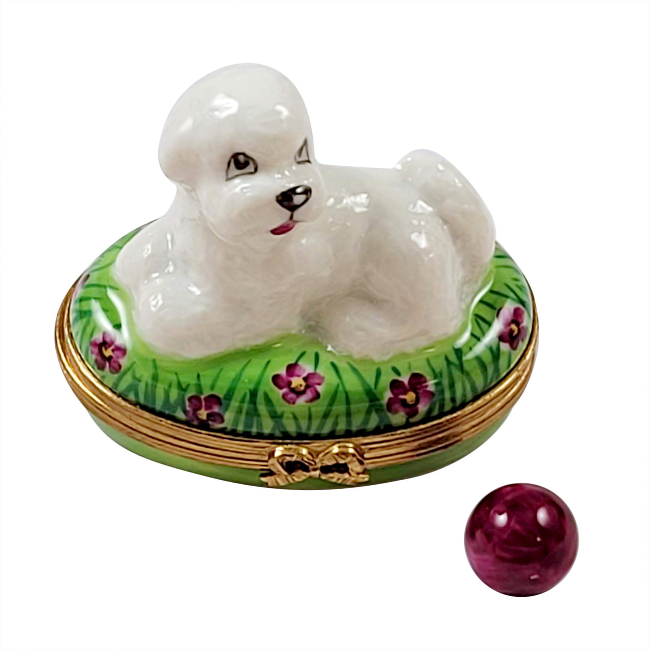 Bichon Lying Down with Removable Ball Rochard Limoges Box RD088