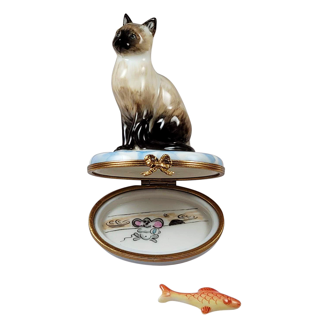 Siamese Cat with Gold Fish Limoges Box RC068