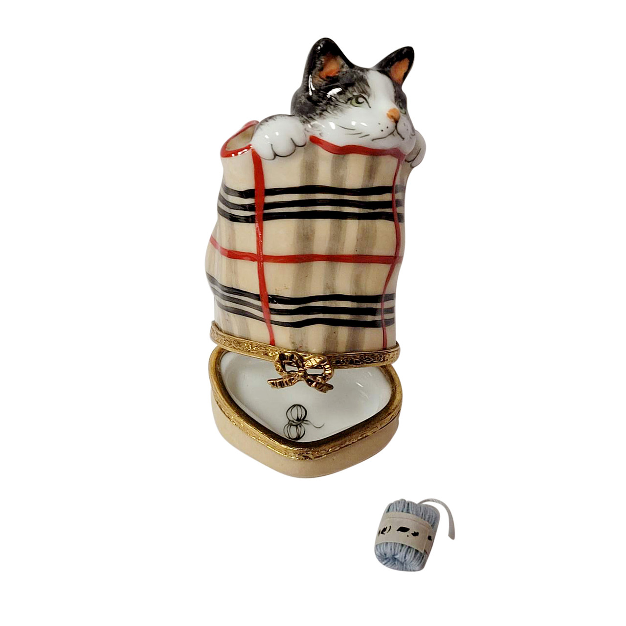 Cat in Burberry Bag with Ball of Yarn Limoges Box
