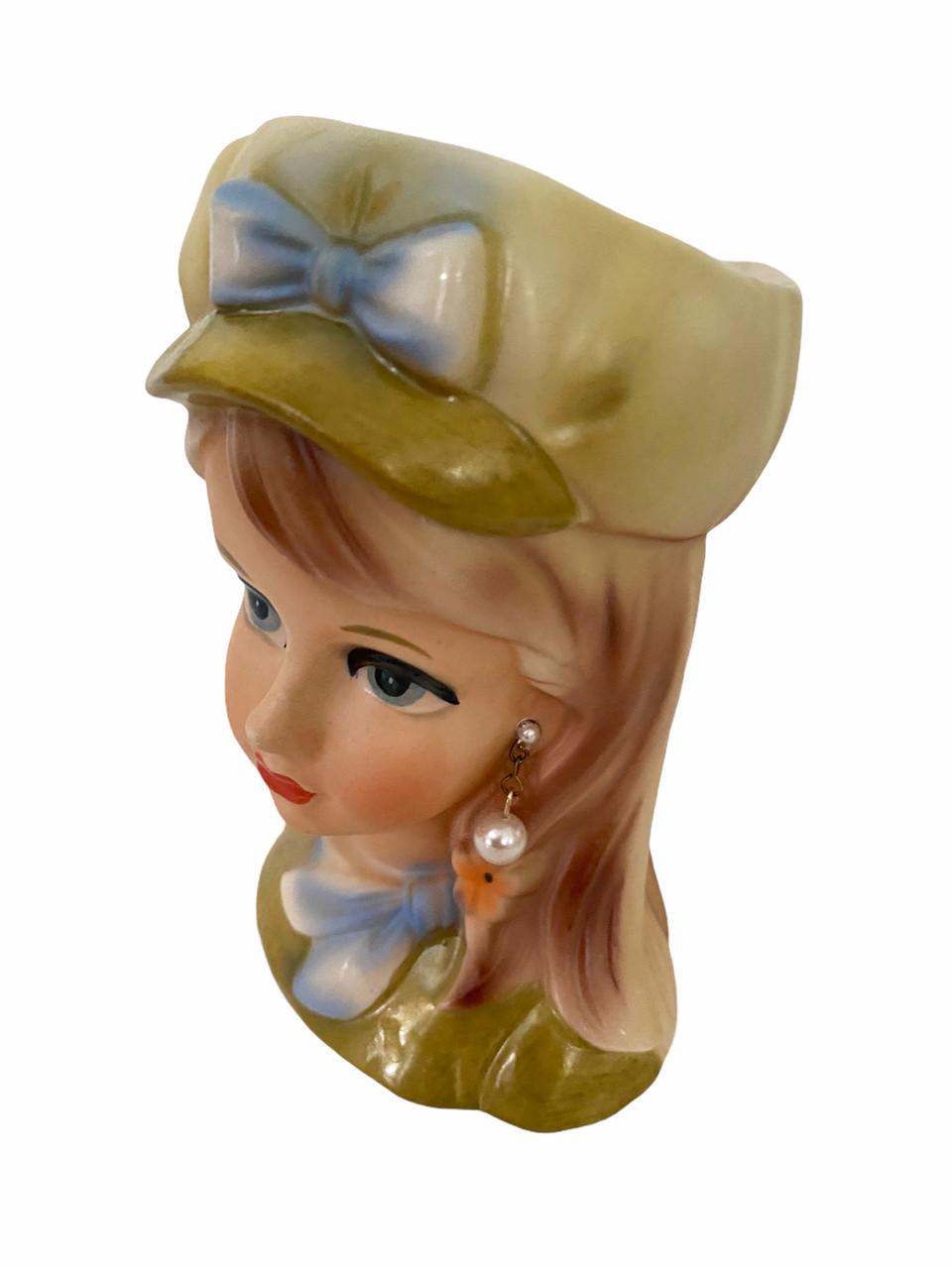 Vintage Lady Head Vase Rubens 4155 in Hat