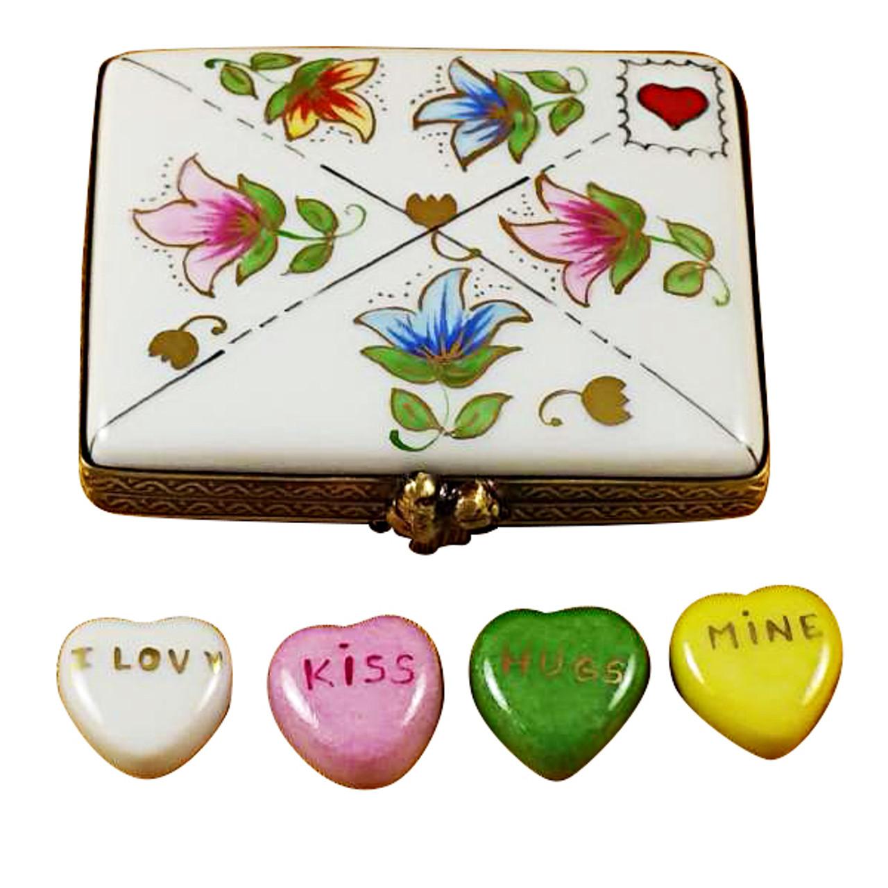 Envelope W/Conversation Hearts Rochard Limoges Box
