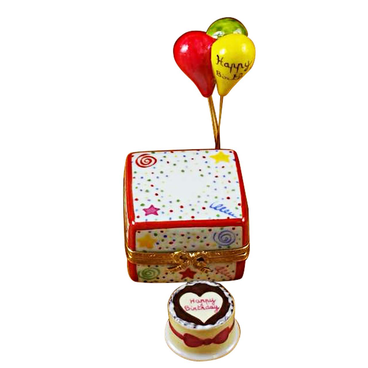 Birthday Cake W/Balloons  & Confetti Rochard Limoges Box