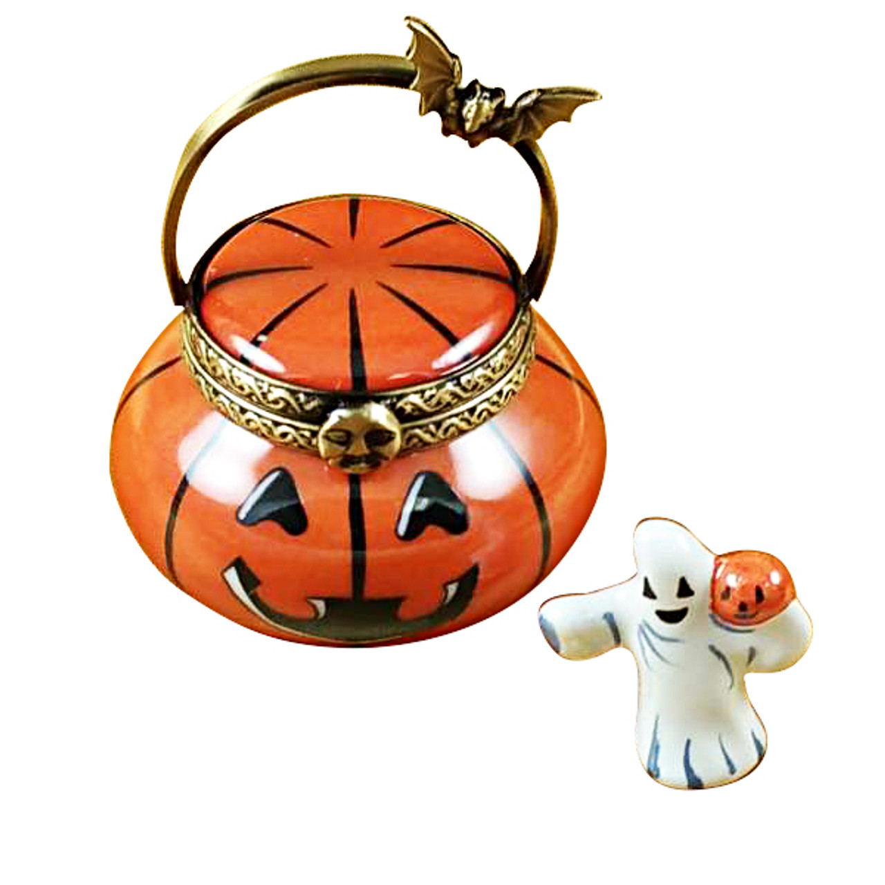 Jack O Lantern Pail With Removable Ghost Rochard Limoges Box