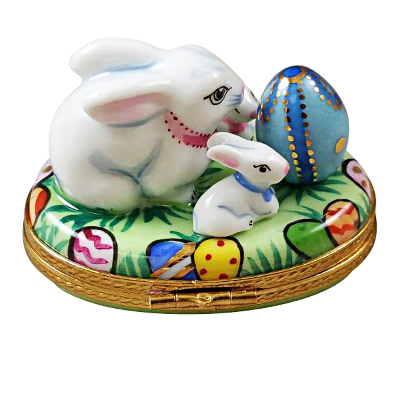 Bunny With Egg And Babies Rochard Limoges Box