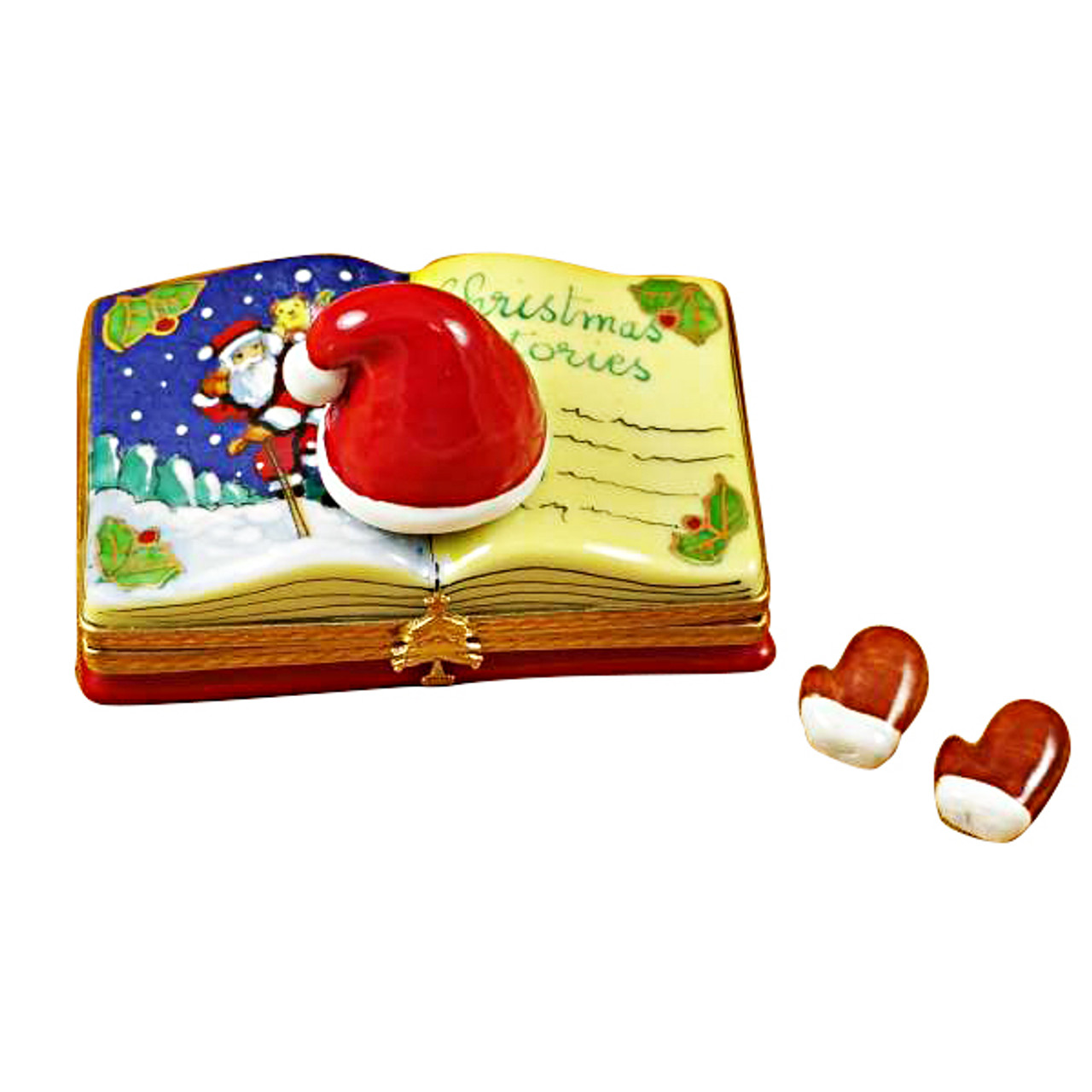"""Christmas Book """"Christmas Stories"""" With Removable Gloves Rochard Limoges Box"""