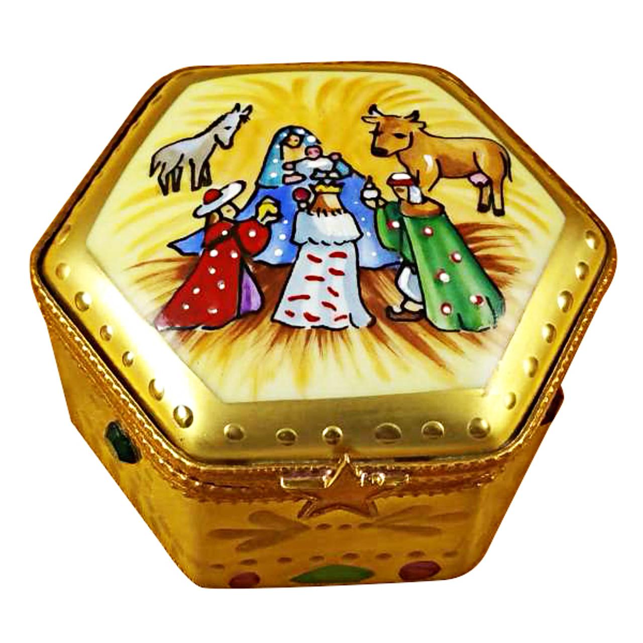 Octagon Nativity W/Star Rochard Limoges Box
