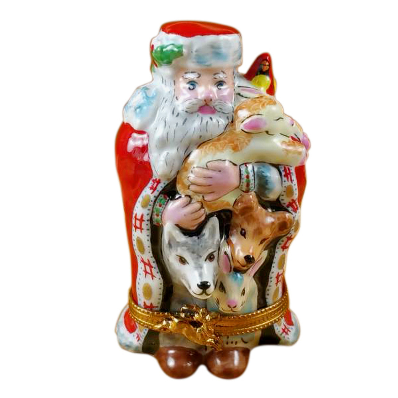Santa W/Animals Rochard Limoges Box