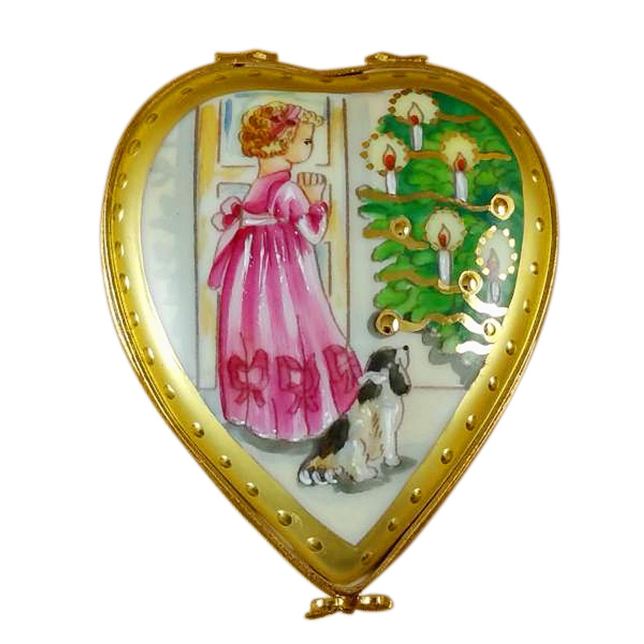 Studio Collection - Heart Little Girl Christmas Tree & Dog Rochard Limoges Box