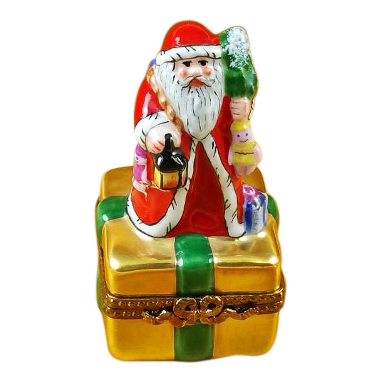 Santa On Box W/Gifts & Lantern Rochard Limoges Box