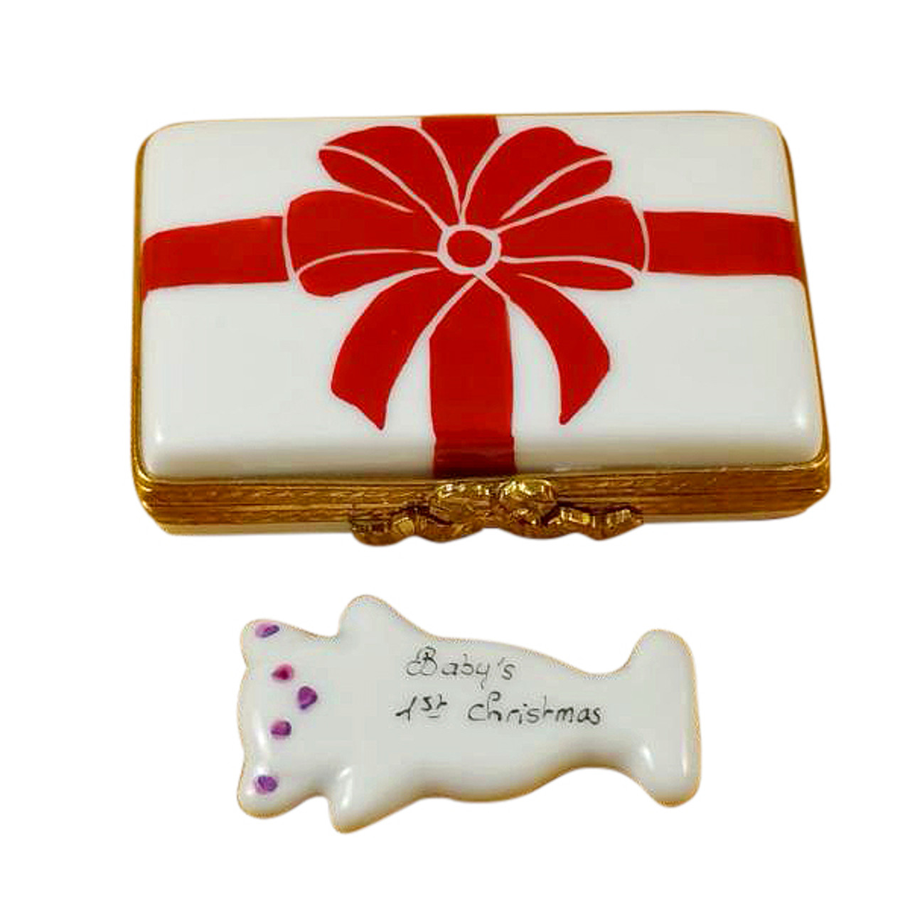 Rochard Gift Box With Red Bow - Baby'S 1St Christmas - Pink Limoges Box RX119-H