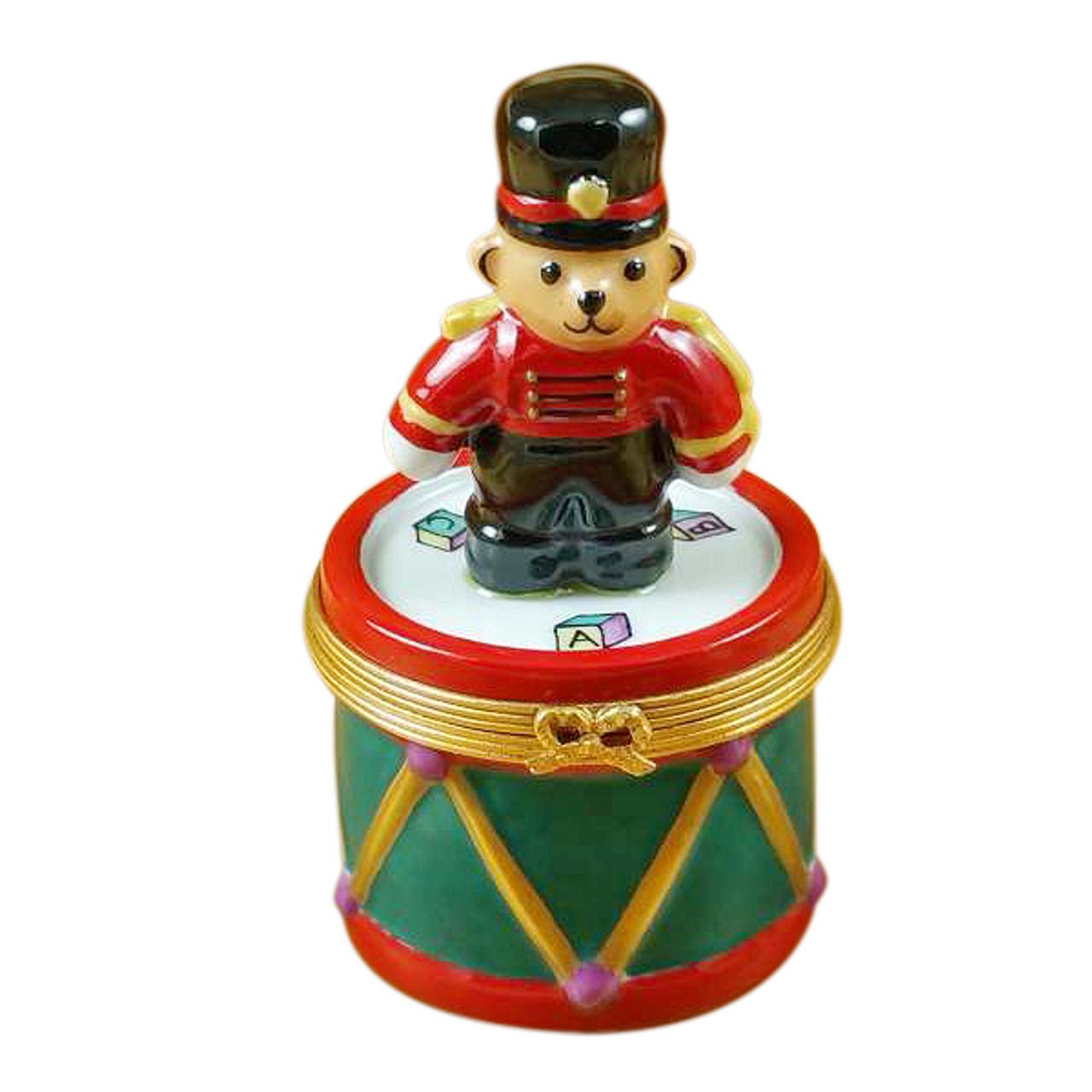 Teddy Bear On Drum Rochard Limoges Box