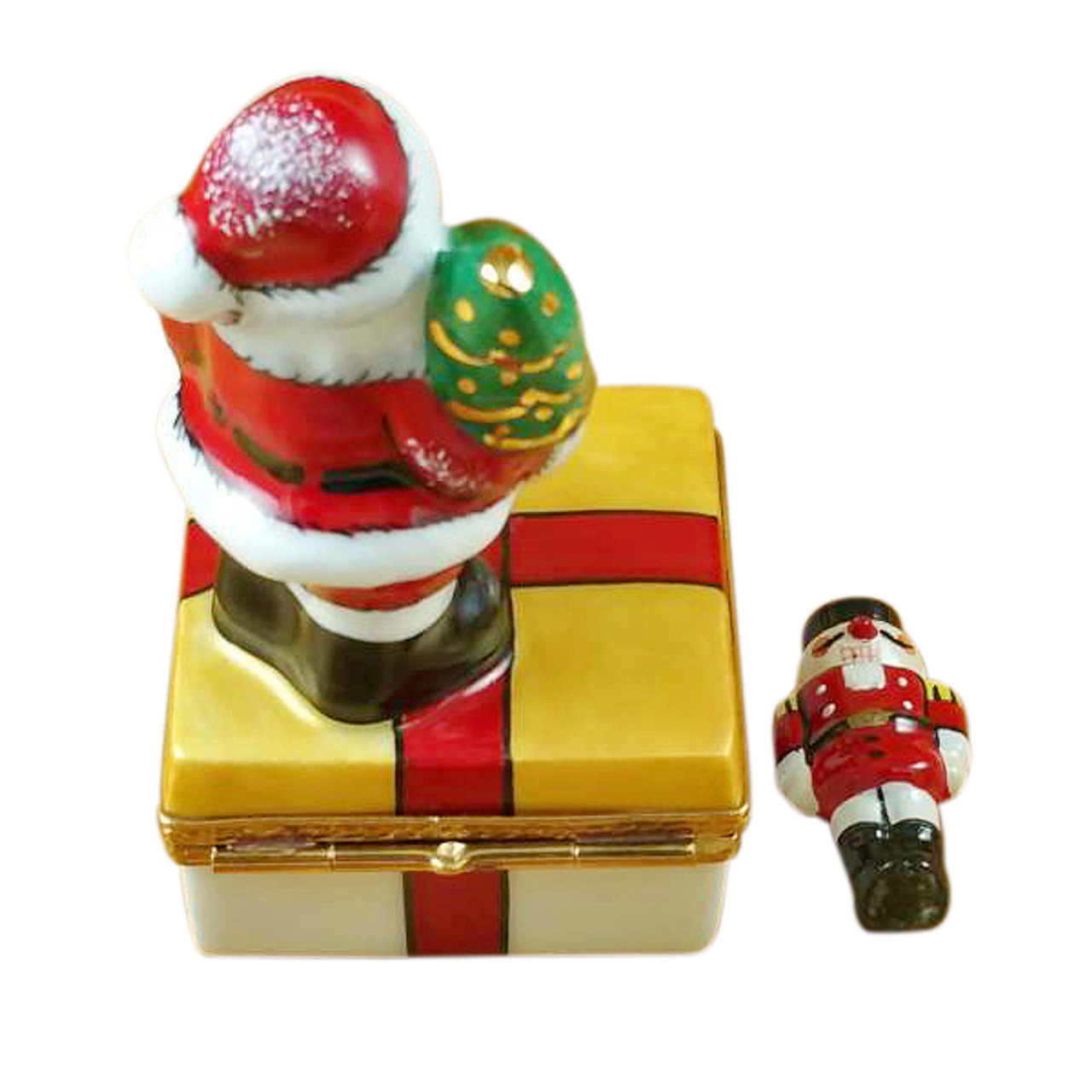 Santa On Present With Removable Nutcracker Rochard Limoges Box