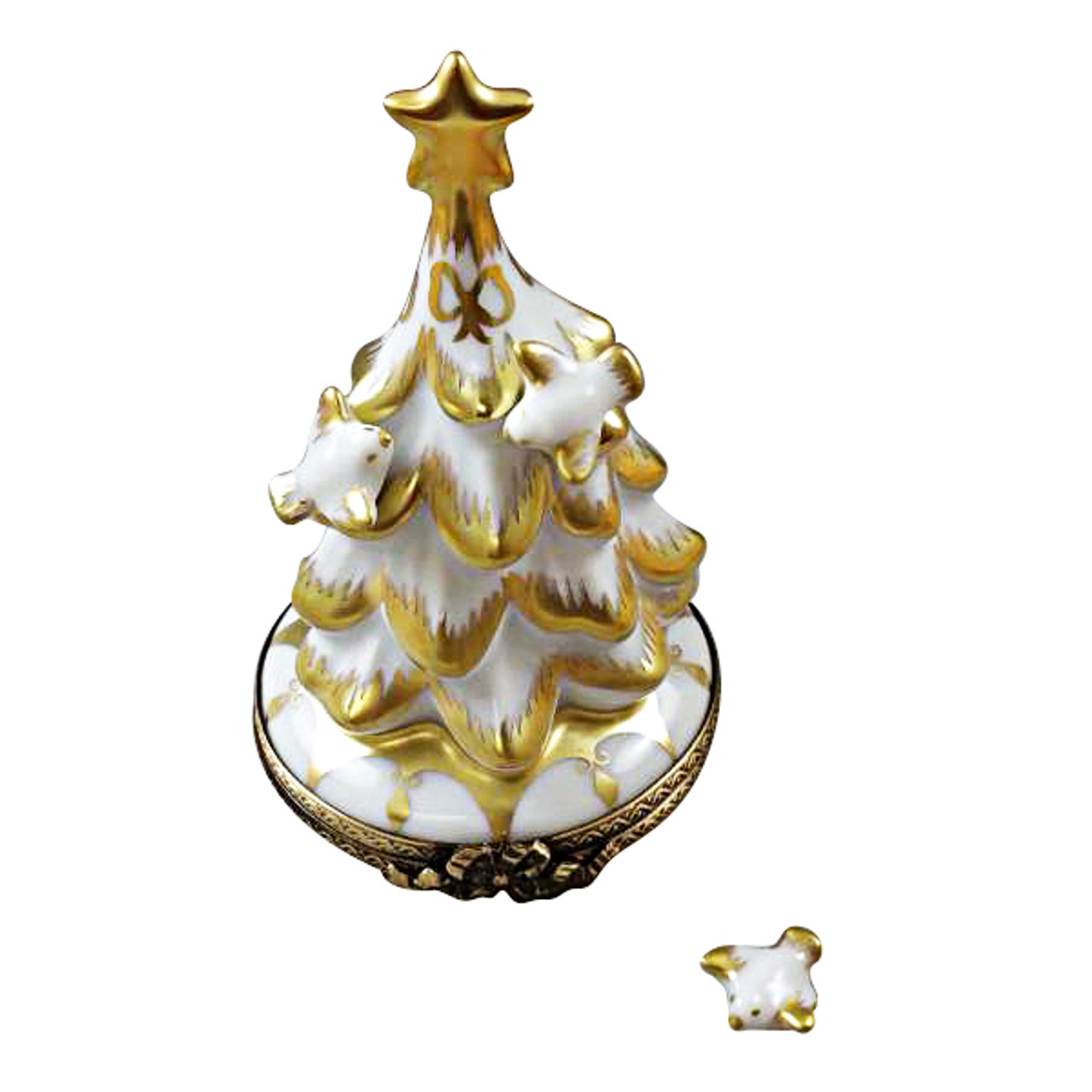 White And Gold Christmas Tree With Doves Rochard Limoges Box