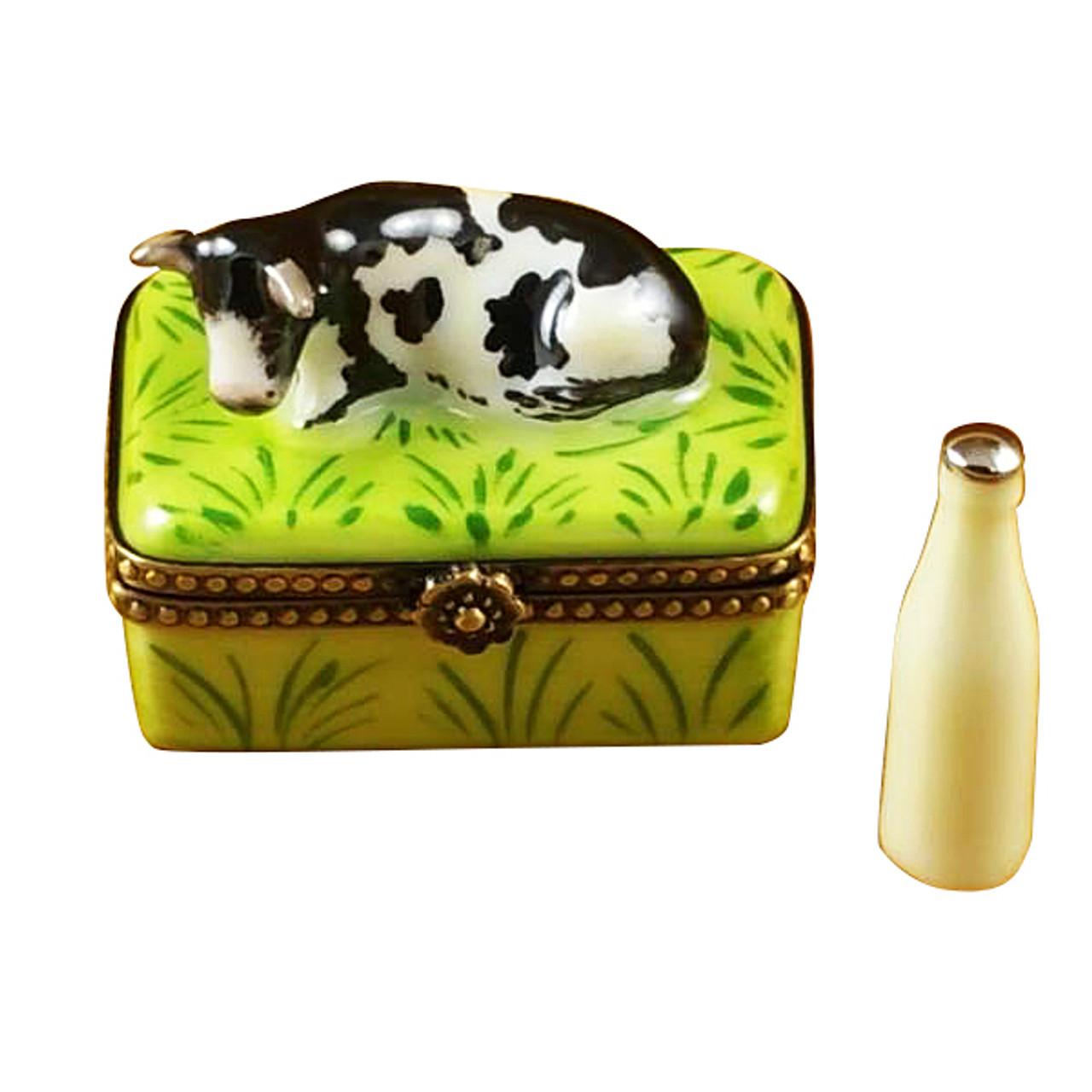 Cow W/Milk Bottle Rochard Limoges Box