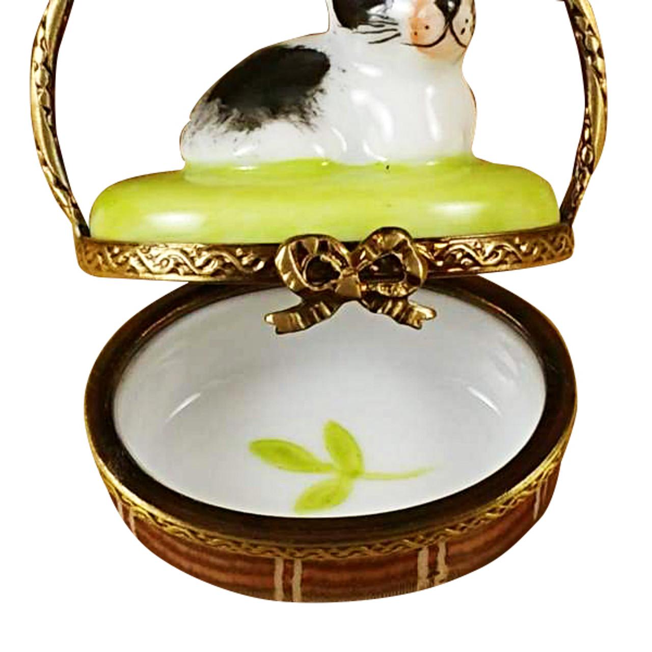 Basket W/Mini Rabbit Rochard Limoges Box