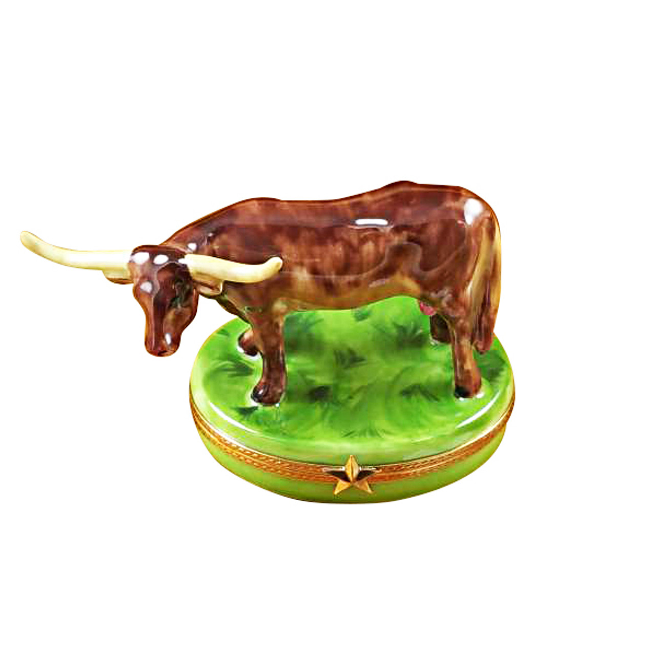 Longhorn With Removable Insert Rochard Limoges Box
