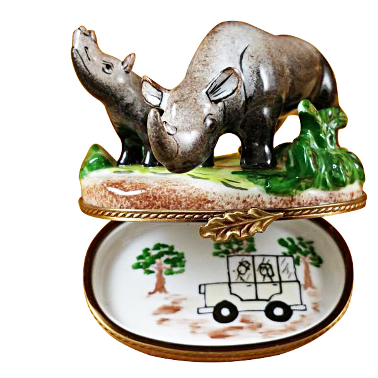 Rhino W/Baby Rochard Limoges Box