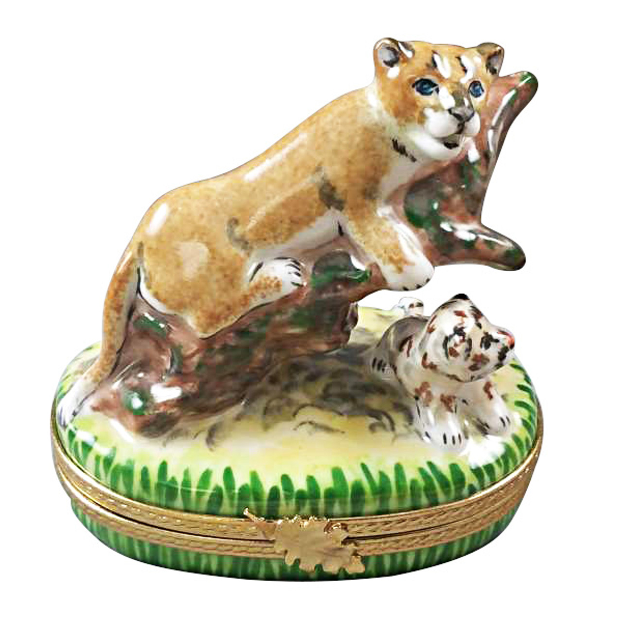 Cougar W/ Baby Rochard Limoges Box