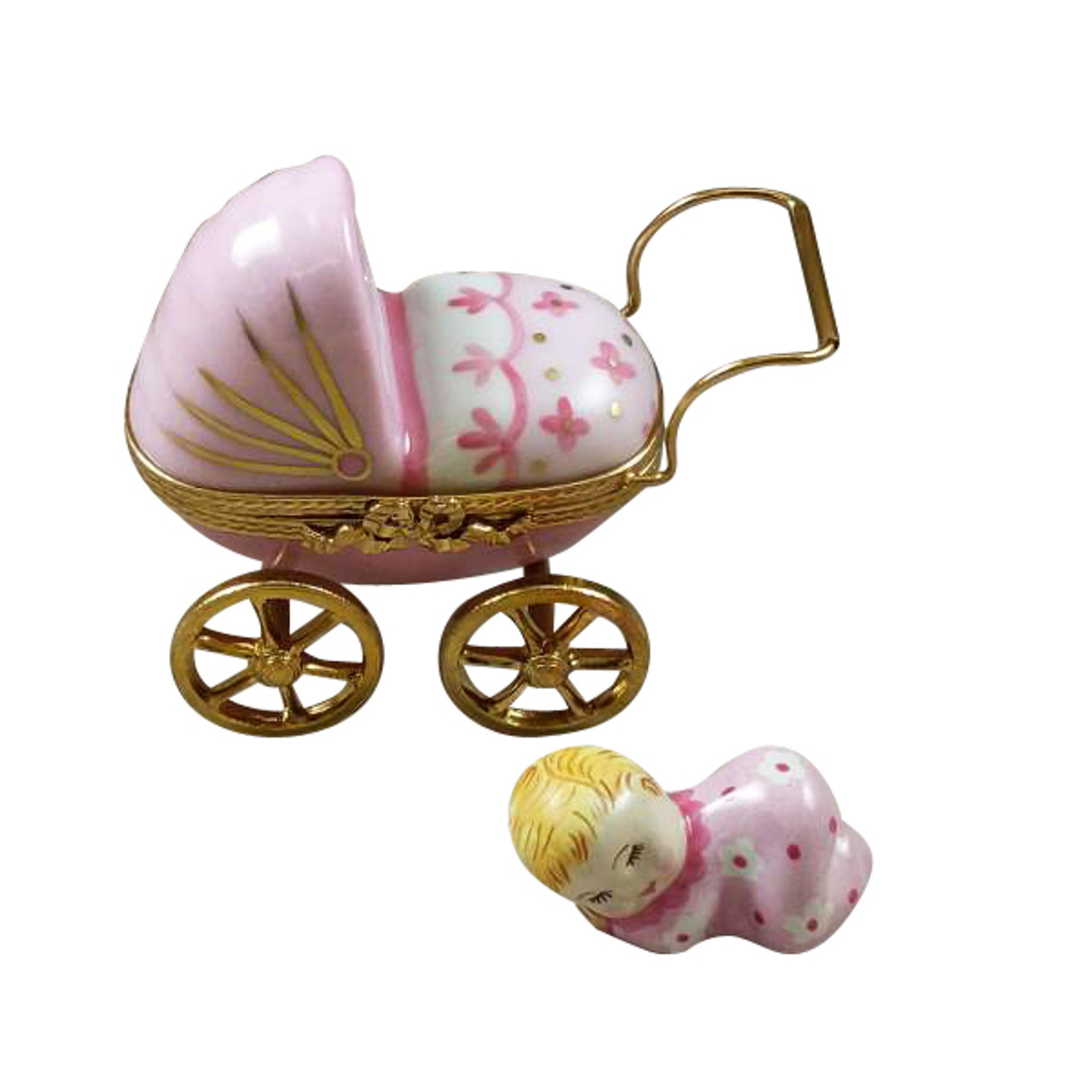 PINK BABY CARRIAGE Limoges Box RB007-K