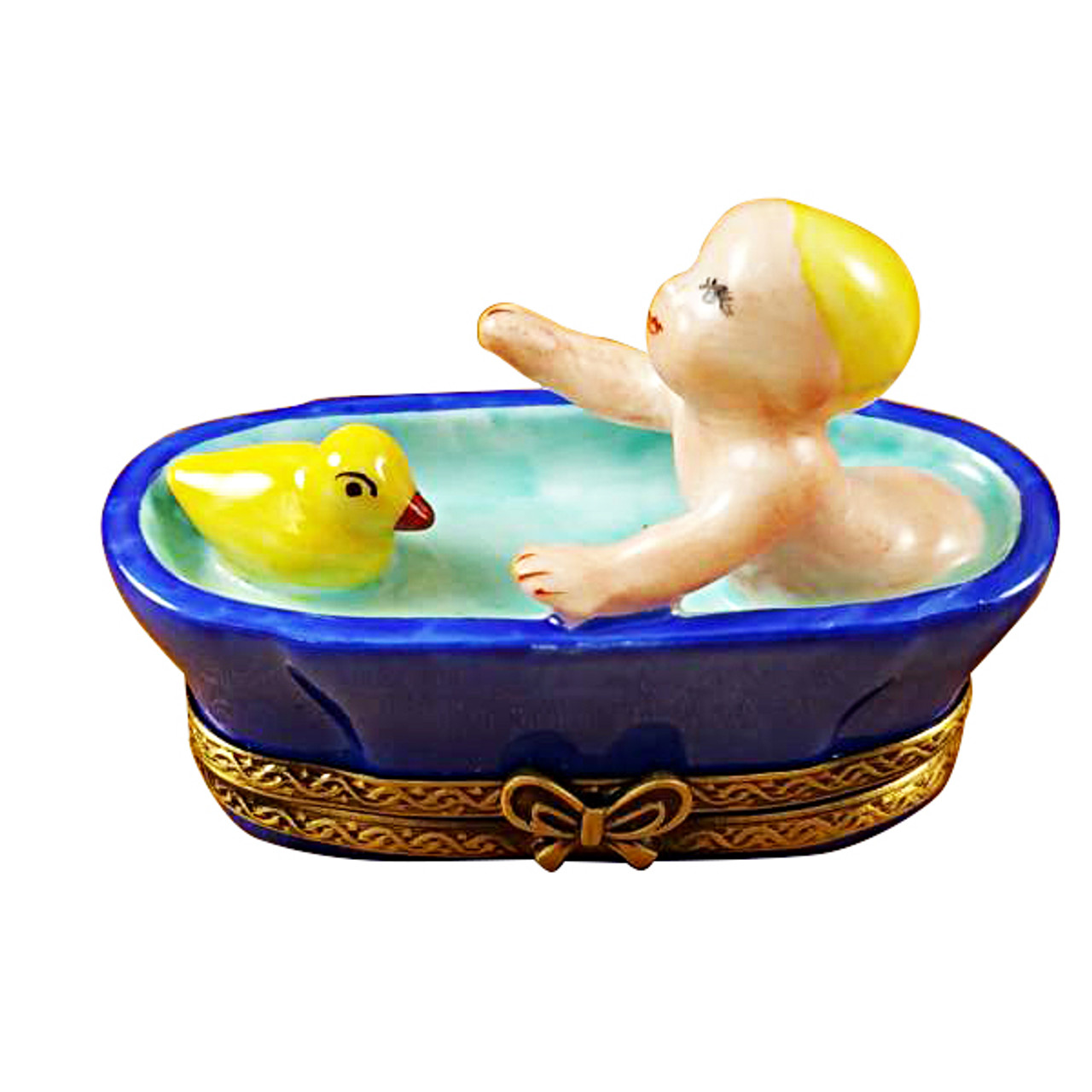 Limoges Imports Baby In Tub With Duck Limoges Box