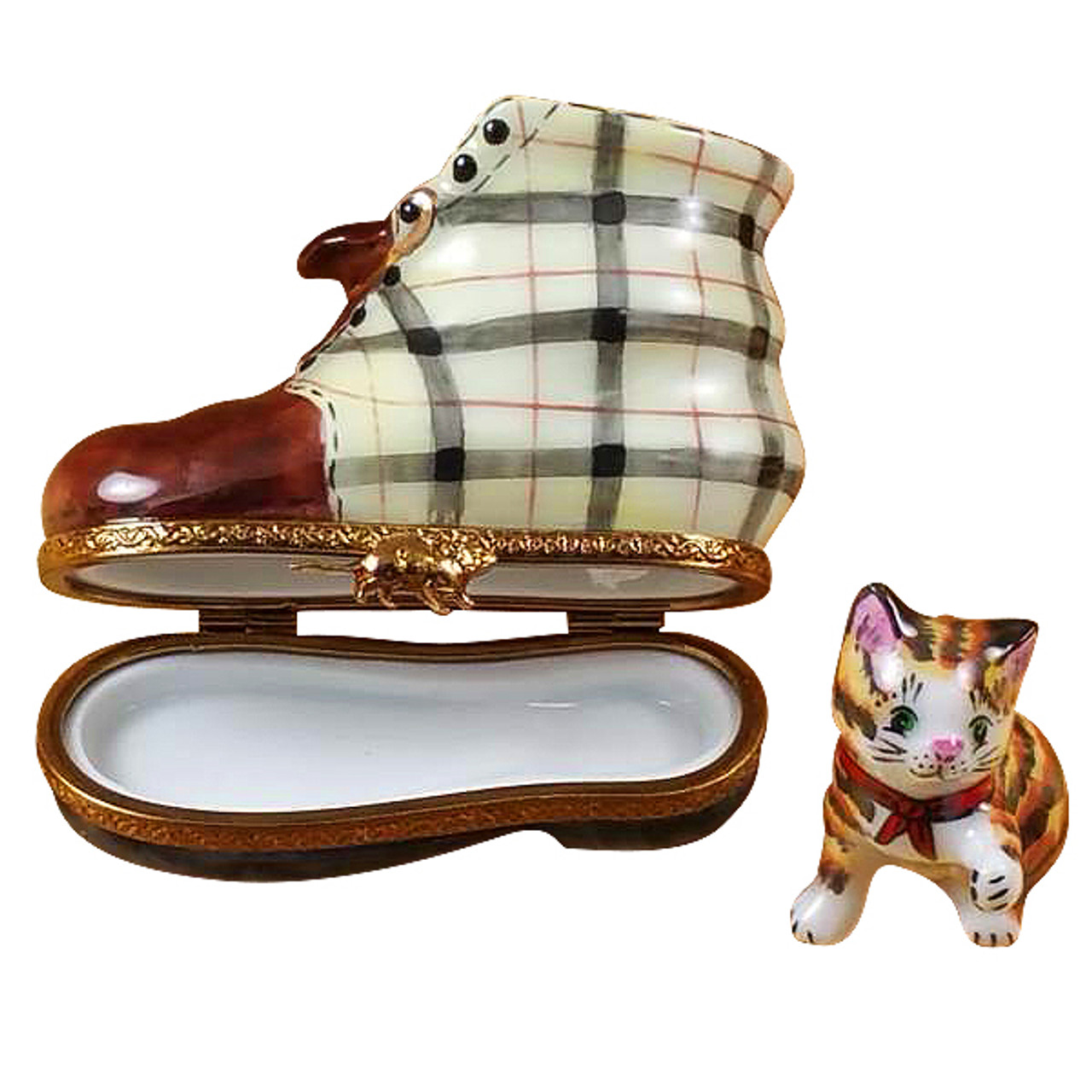 Cat In Burberry Boot Rochard Limoges Box