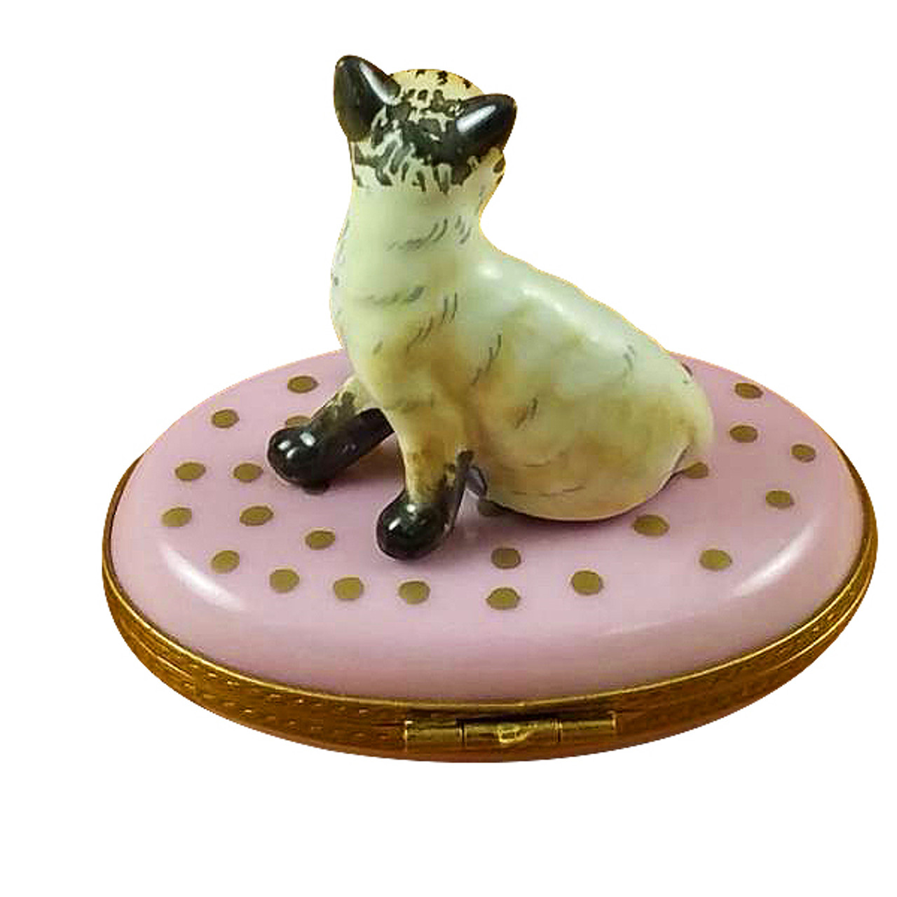 Cat On Pink Base Rochard Limoges Box