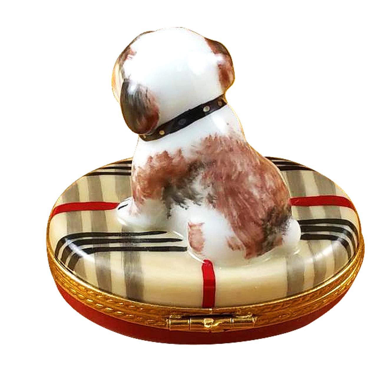 Bulldog On Plaid Rug Rochard Limoges Box