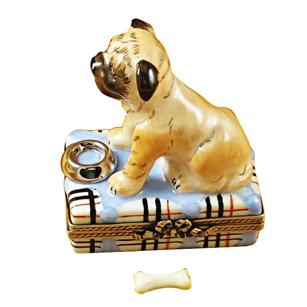Pug With Spilt Water And Removable Bone Rochard Limoges Box