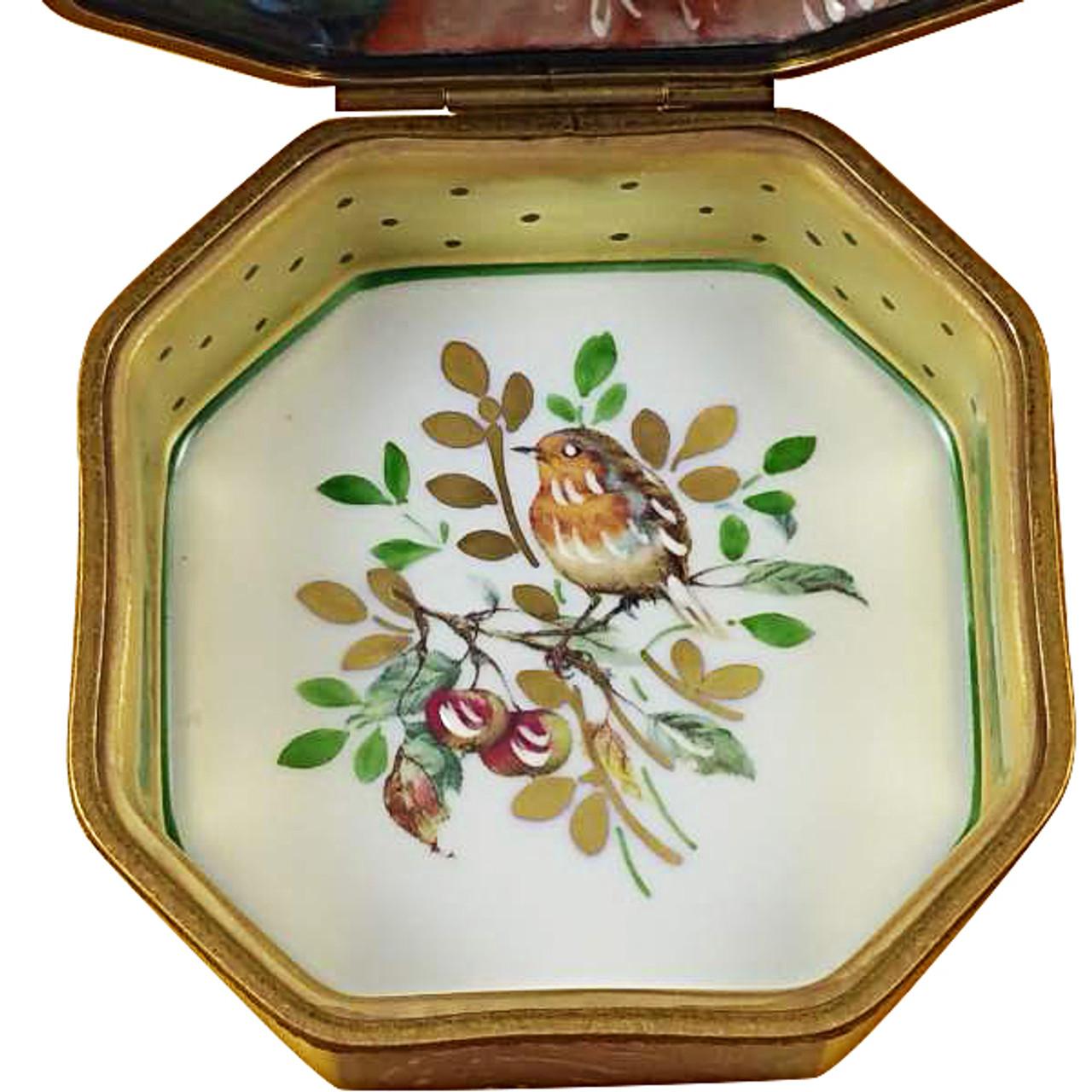 Octagonal White Rose Box - Mother-Girl Rochard Limoges Box