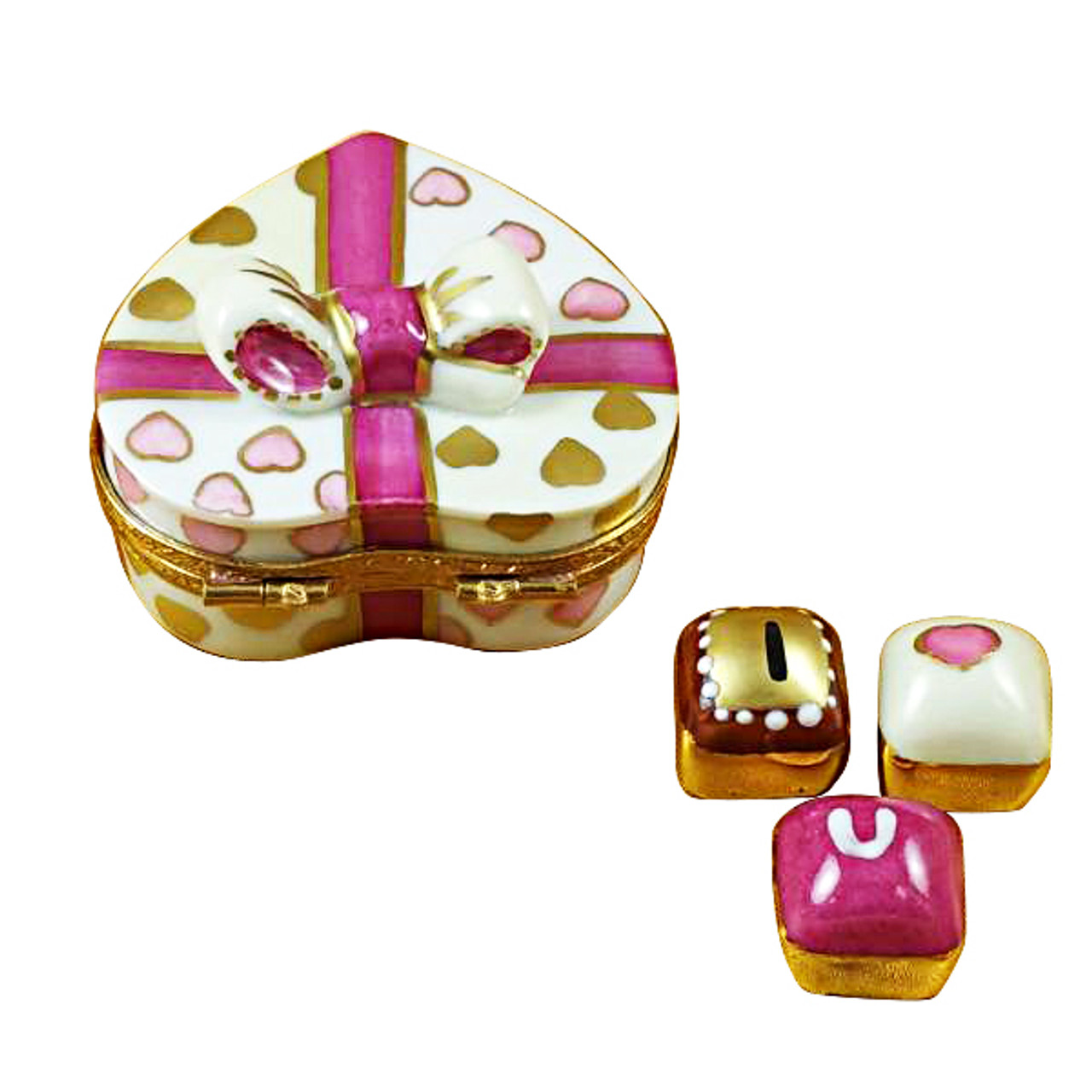 Pink Heart With Three Chocolates Rochard Limoges Box