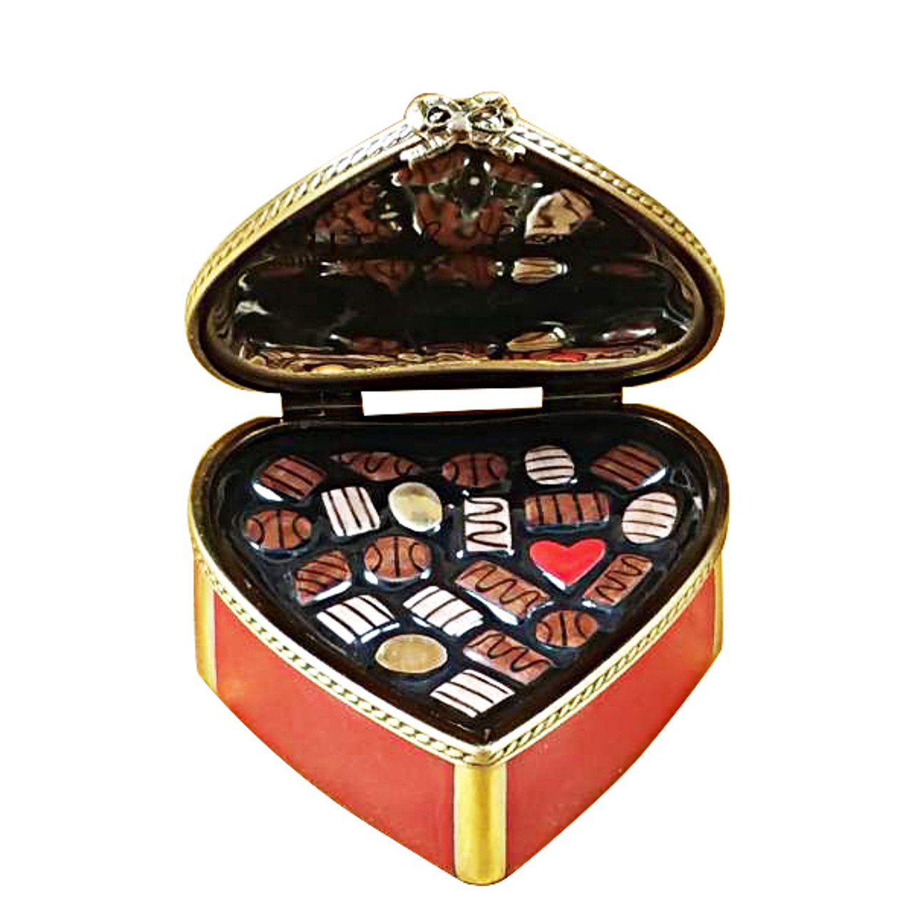 Red Heart W/Chocolates Rochard Limoges Box
