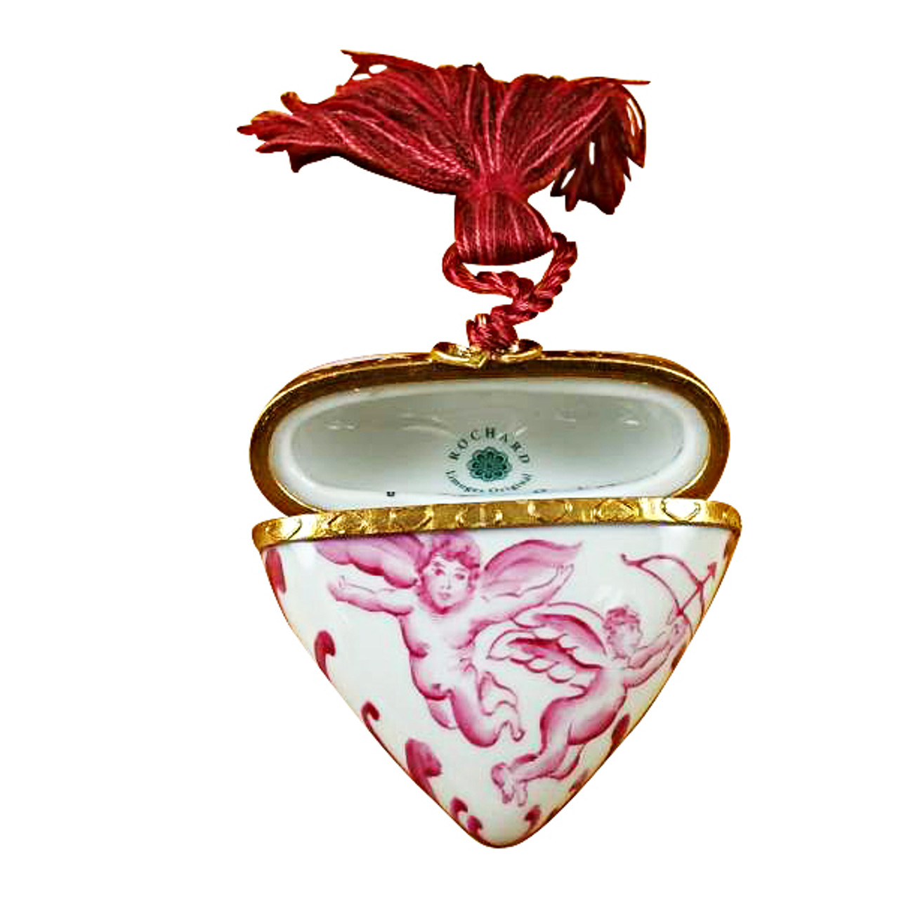 Heart Pink Angel W/Tassel Rochard Limoges Box