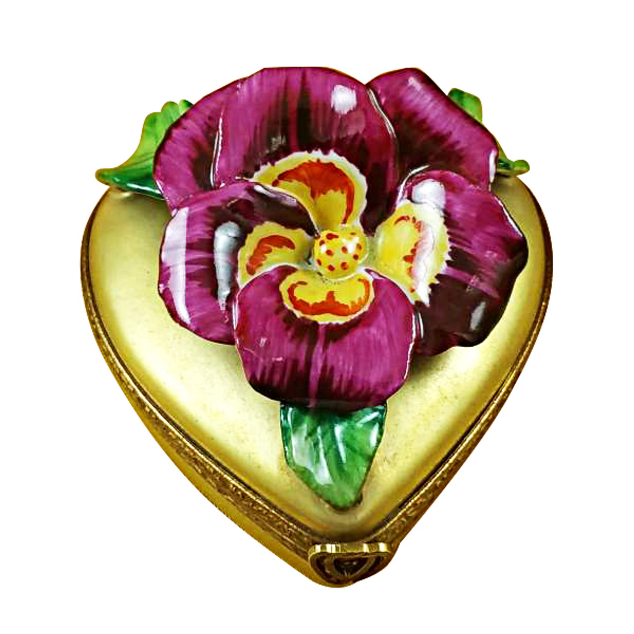 Pansy On Gold Heart Rochard Limoges Box