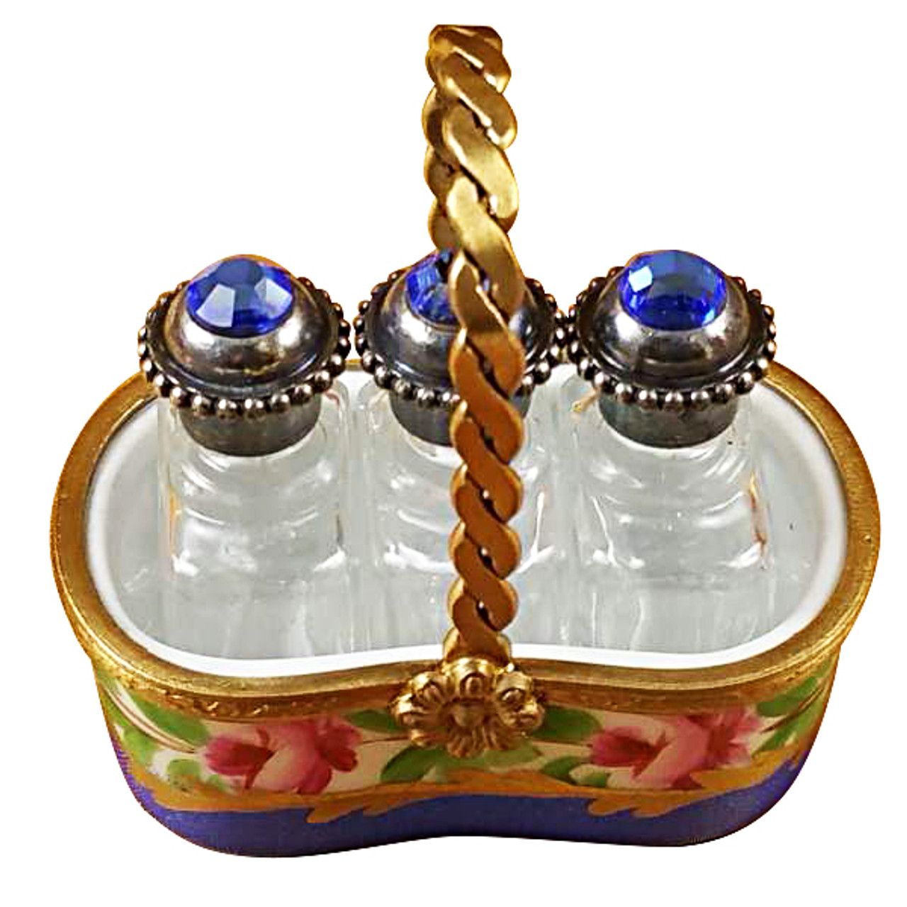 Basket W/Three Perfume Bottles Rochard Limoges Box