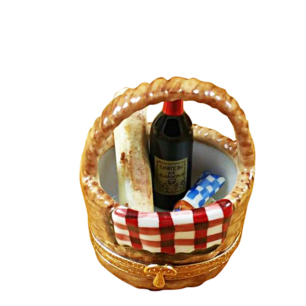Picnic Basket W/Wine, Bread, Cheese & Napkin Rochard Limoges Box