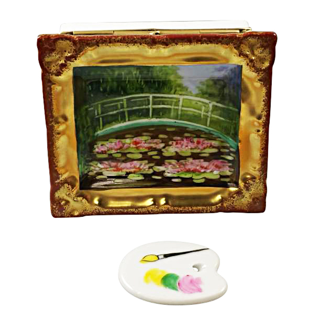 Monet'S Japanese Footbridge Inside Frame With Removable Pallete Rochard Limoges Box