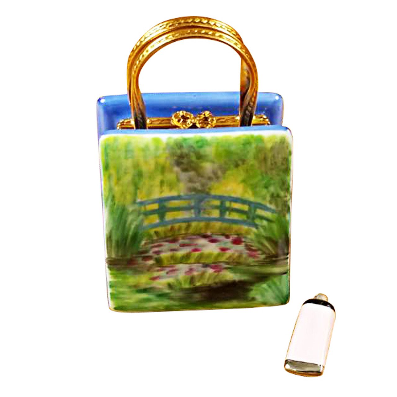 Monet Bag With Bridge And Water Lily Includes Removable Paint Tube Rochard Limoges Box