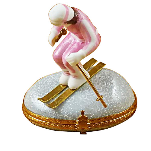 Woman Skier On Mountain Rochard Limoges Box