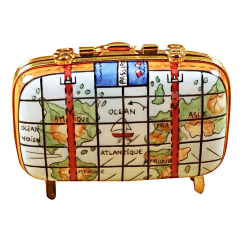 Suitcase W/Maps Rochard Limoges Box