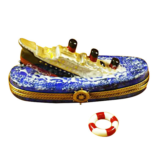 Titanic Sinking W/Life Buoy Rochard Limoges Box