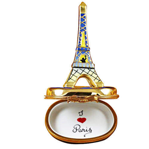 Eiffel Tower Gold On Blue Base Rochard Limoges Box