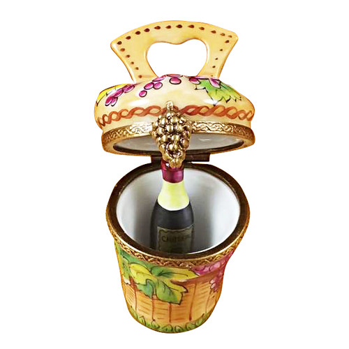 Grape Harvest Basket W/Wine Bottle Rochard Limoges Box