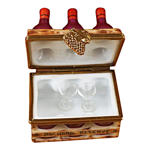 Wine Bottles In Crate With Two Glasses Rochard Limoges Box
