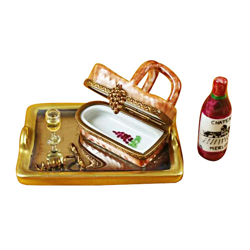 Tray W/Wine Tasting Basket Rochard Limoges Box