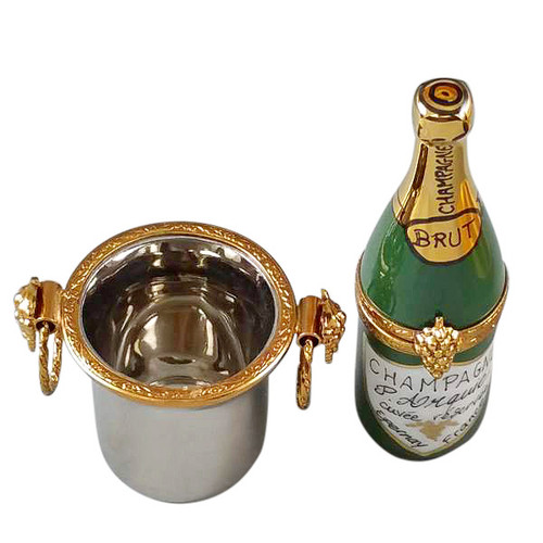 Champagne Bottle In Silver Bucket Rochard Limoges Box