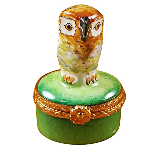 Limoges Imports Small Owl On Green Box Limoges Box