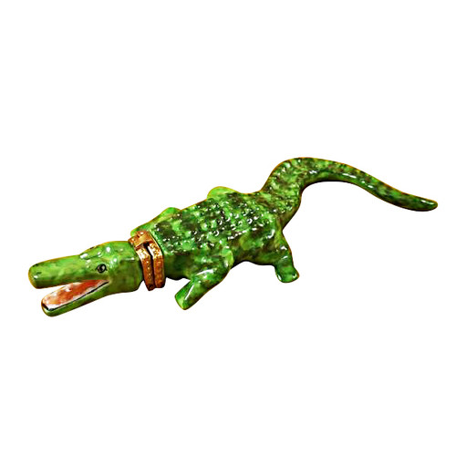 Limoges Imports Green Crocodile Limoges Box