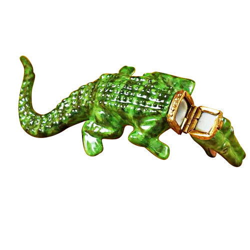 Limoges Imports Green Crocodile Limoges Box